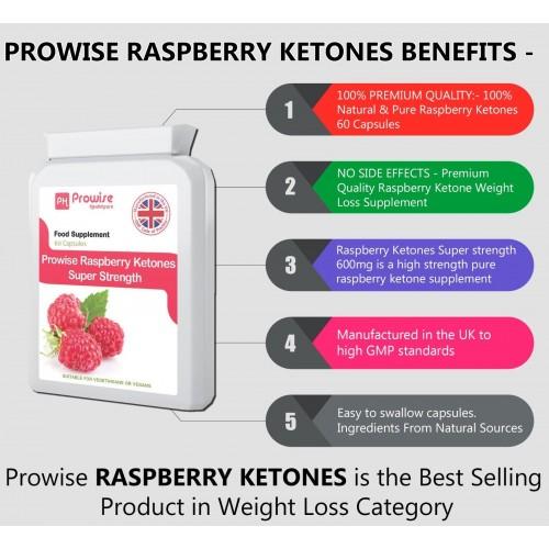 Cetonă de zmeură (raspberry ketone) de 600 mg, 60 capsule