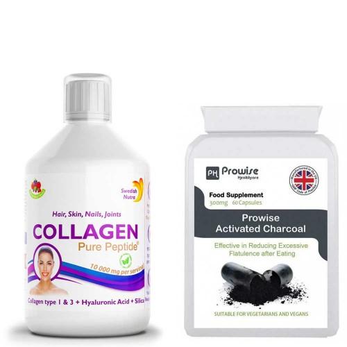 Colagen Lichid - păr, piele, unghii, articulații + Activated Charcoal