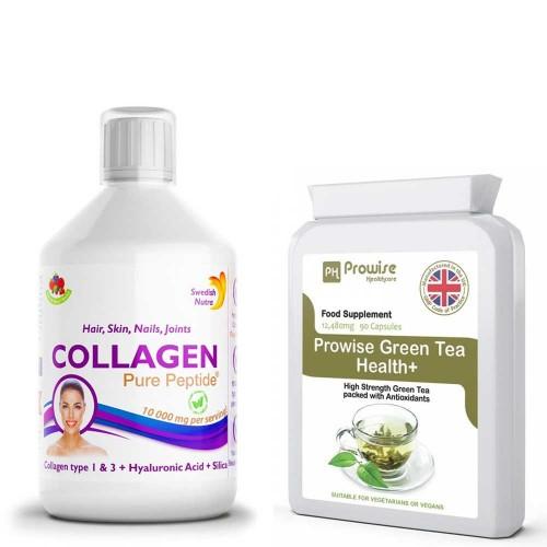 Colagen Lichid - păr, piele, unghii, articulații + Ceai Verde de 12,480 mg